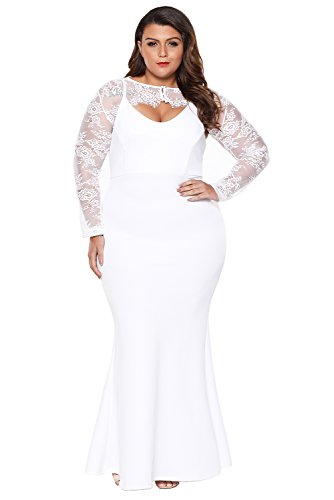 XAKALAKA Women\'s Plus Size White Wedding Dress with Removable Lace ...