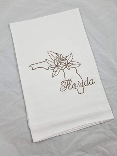 Florida Orange Blossom State Flower Embroidered Cotton Flour Sack Kitchen Tea Towel ()
