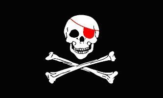 - Pirate Flag - 5'x3' - Red Eye Patch Flag