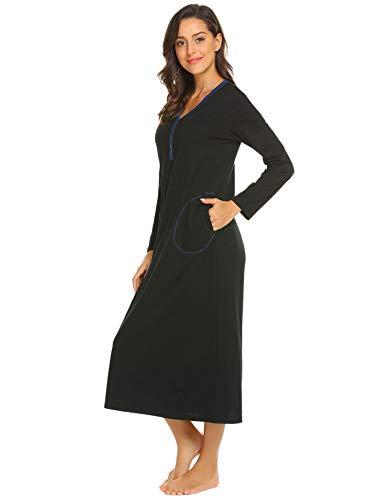 68ca0c5f44 Langle Women s Bathrobe Casual Nightgown Flare Sleeve Solid Soft Wrap Long  Robe with Belt Sleepwear S