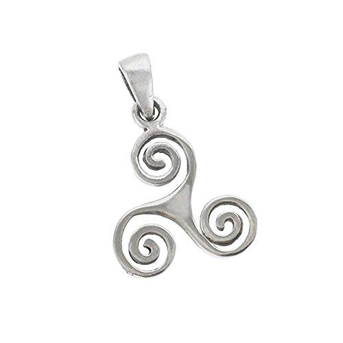 - HCGems Sterling Silver Celtic Triskele Pendant