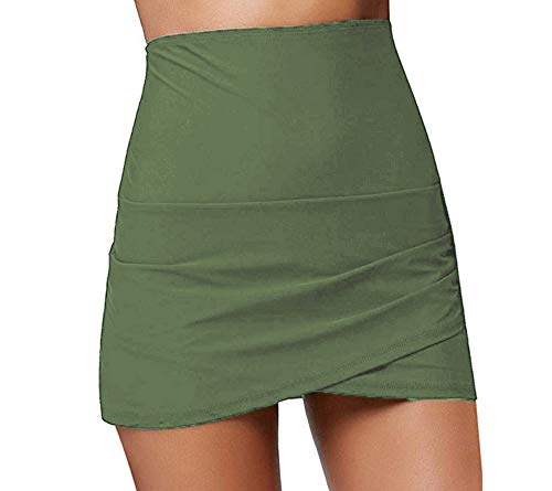 Women Shirred High Waisted Tulip Hem Swim Skirt Ruched Skirted Bikini Swimsuit Bottom Beachwear (Green, L)