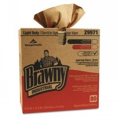 dustrial Light-duty Three-ply Paper Wipers, 9-1/4x16-3/4, Brown, 80/box ()