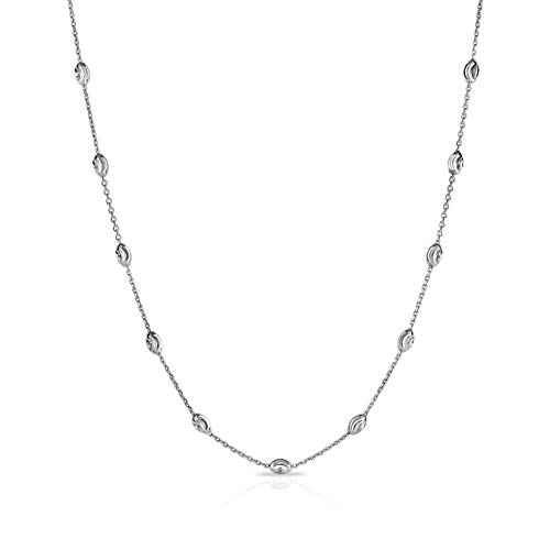 Verona Jewelers Sterling Silver Station Oval Bead Necklace for Women- Moon Bead Station Necklace and Anklet (10-36) 4 Colors (22, Silver) ()