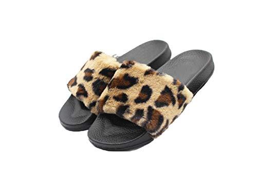 Women's Furry Soft Slider Flat Slipper Flip Flop Leopard 8-8.5 B(M) US. ()