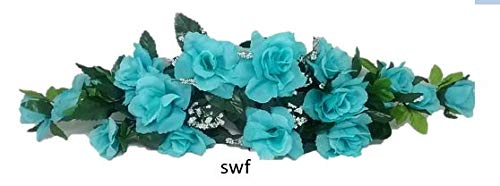 "Wedding Flowers 22"" Rose Swag with Gyps Artificial Silk Home Party Decor (Aqua)"