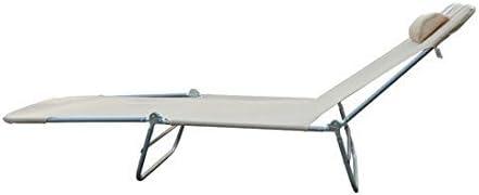 Outsunny Lettino reclinabile Sdraio Sedia da Giardino//Spiaggia//Piscina Crema Pieghevole