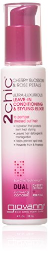 Giovanni Hair 2chic Ultra-Luxurious Leave-In Conditioning & Styling Elixir, 4 oz, for Wavy & Curly Hair,  Cherry Blossom & Rose Petals, Aloe Vera, Detangles, Sulfate - Leave Conditioner Direct In Giovanni