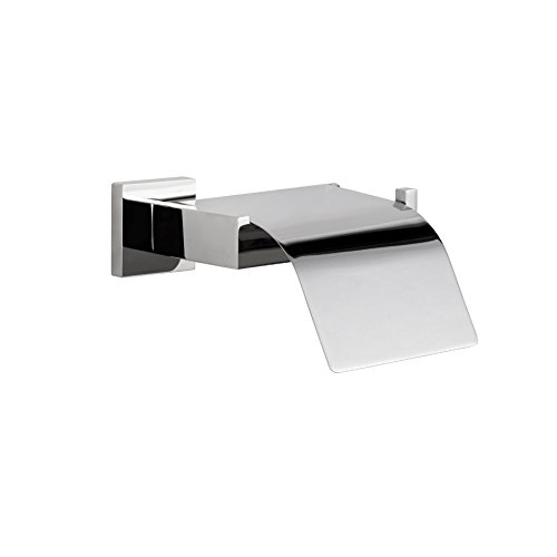 MAYKKE TriBeCa Stainless Steel Toilet Paper Holder with Cover | Modern Toilet Tissue Roll Storage Wall Mounted for Bathroom Lavatory & Shower | Polished Chrome, KYA1000102 (Polished Tribeca Steel)
