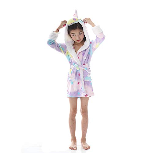 Funkeet Kids Rainbow Unicorn Hooded Bathrobe, Soft Flannel Unicorn Pajamas Bath Robe Dressing Gown Sleepware Loungewear for Girls Boys (Star, 4-5 Years)