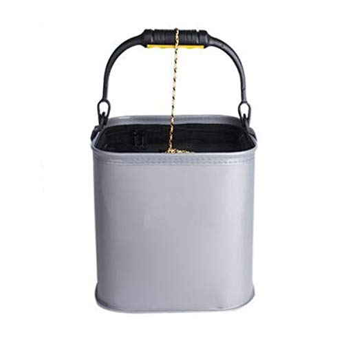 Folding Bucket, Portable Household With Rope Folding Bucket Outdoor Fishing Bucket Wash Wash Basin, Gray/Black (capacity 13L) Water Bucket, With Lid Fish Box (Color : Gray, Size : 2523cm)