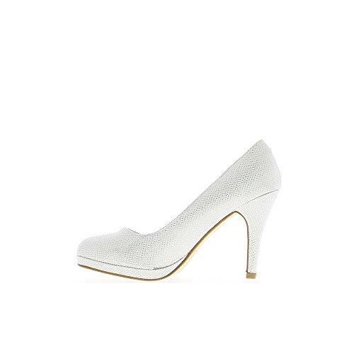 Escarpins brillants blancs à talons de 9,5cm et plateau avant