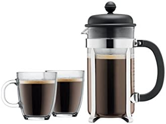 Bodum Caffettiera French Press Coffee Maker, 8 Cup, 1 Liter, 34oz with 2 Glass Mugs, 0.35 Liter, 12oz
