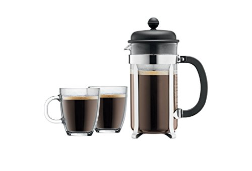 Bodum Caffettiera French Press Coffee Maker, 8 Cup, 1 Liter, 34oz with 2 Glass Mugs, 0.35 Liter, (0.35l Mugs)