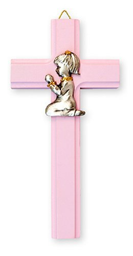 Baptism Gifts Pink Wooden Cross 6 Inch & Lourdes Prayer Card by DIRECT FROM LOURDES