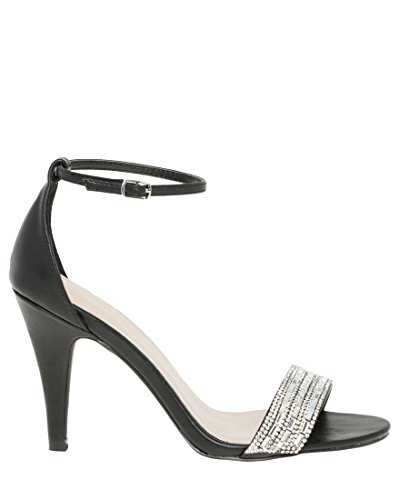 LE CHÂTEAU Embellished Leather-Like Ankle Strap Sandal,9,Black