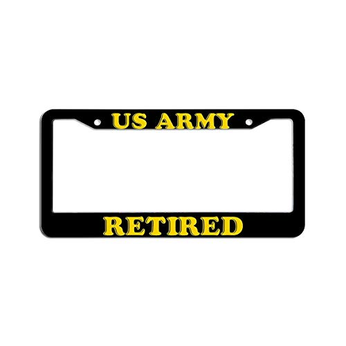 zhangjialicense Retired Us Army - License Plate Frames Black, Aluminum Funny License Plate Holder with 2 Bolts Cap Screws and 2 Holes - License Retired Army Plate
