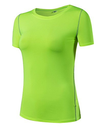 Camiseta de Manga Corta Deportiva Camiseta de Compresión para Mujer Verde