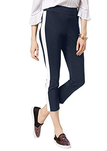 (I.N.C. International Concepts Women's Petite Cropped Striped-Leg Pants (Deep Twilight, 14P))