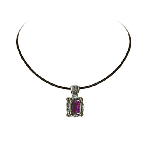 Willow Xpress Two-Tone Designer Inspired Amethyst and Blue Topaz CZ Detachable -