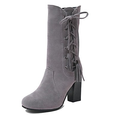 RTRY Women'S Shoes Nubuck Leather Leatherette Fall Winter Fashion Boots Boots Chunky Heel Round Toe Mid-Calf Boots Zipper Lace-Up For Casual US8 / EU39 / UK6 / CN39 o95Zrg