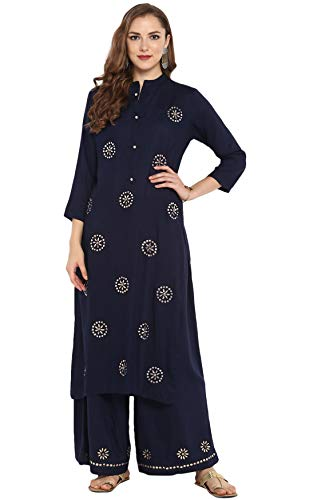 Janasya Indian Tunic Tops Rayon Kurti Set for Women (SET027-KR-PP-XL) Blue