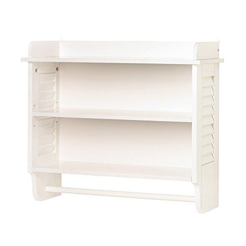 Wall Mount Bathroom White Cabinet Storage Organizer Shelf (Wooden Wall Shelf) by Star Tortoise