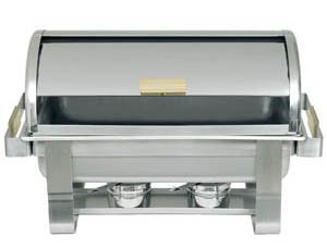GOLD ACCENTED 8 QT ROLL TOP CHAFER CHAFING - Top Roll Chafer Accented Gold