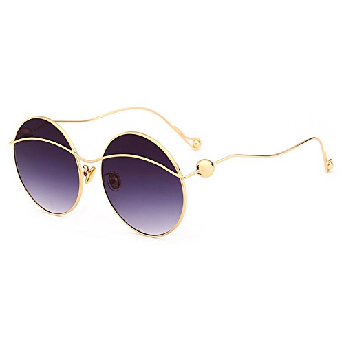 Frame Gafas Oversize de Sol G de Gafas Gafas de Mujer Redonda para de piernas Perla Moda Sombra Mujeres D Sol curvadas Burenqi zqBfdnwB