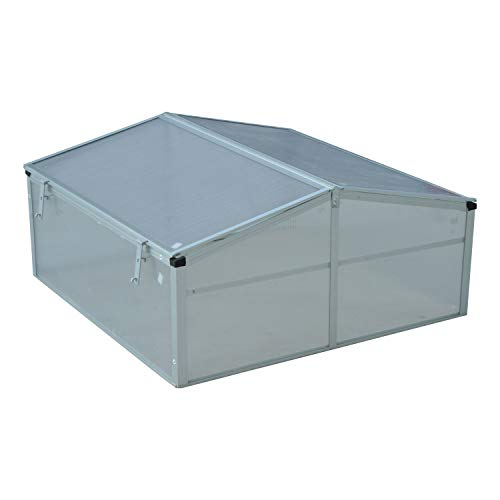 39″ Aluminum Vented Cold Frame Greenhouse – Silver/Transparent