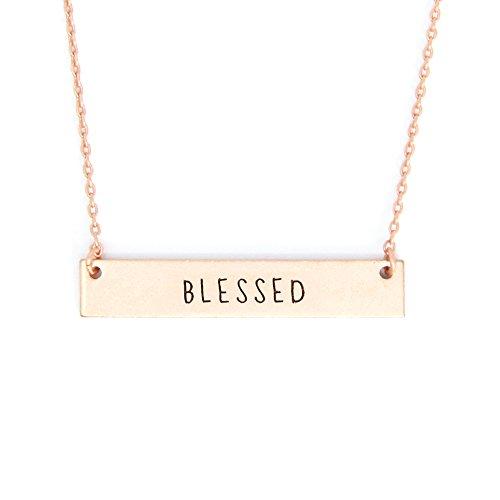 Me Plus Inspirational Horizontal Engraved Bar Pendant Necklace