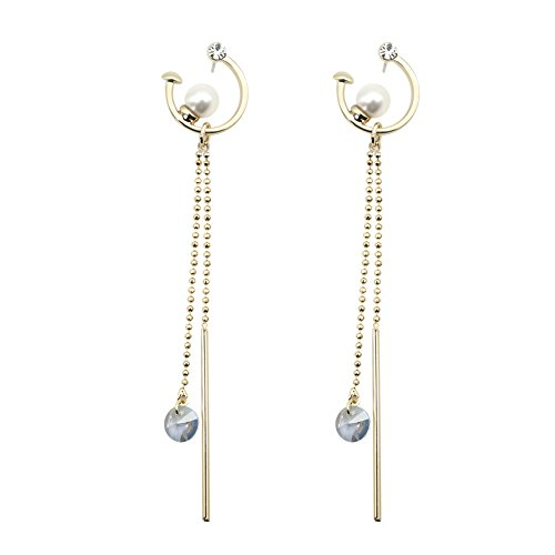 Rugewelry Fashion Jewelry 925 Sterling Silver Pearl Crescent Moon Dangle Earrings For Holiday Gifts