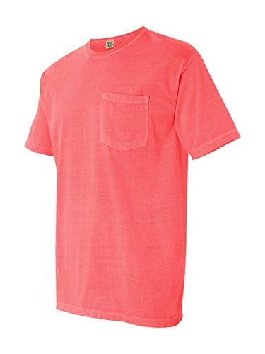 (Comfort Colors Ringspun Short Sleeve Pocket Tee, Neon Red Orange, S)