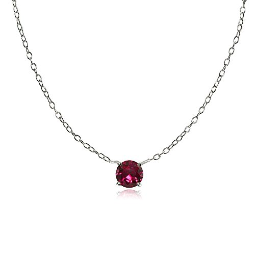 Ice Gems Sterling Silver Small Dainty Round Created Ruby Choker Necklace ()