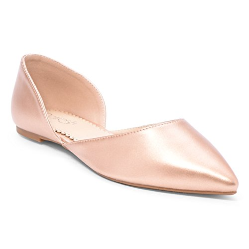 Women's Ballet Flat D'Orsay Comfort Light Pointed Toe Slip On Casual Shoes Rose Gold