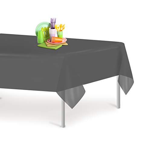 Dark Grey 6 Pack Premium Disposable Plastic Tablecloth 54 Inch. x 108 Inch. Rectangle Table Cover By Grandipity