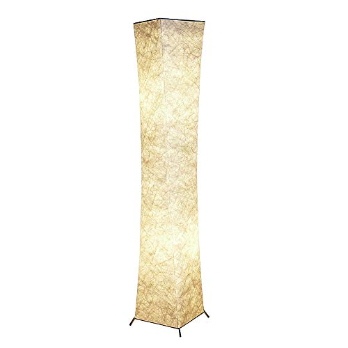 Column Floor - Floor Lamp, CHIPHY Tall Lamp for Living Room, with White Fabric Shade and 2 LED Bulbs, Modern and Contemporary Standing Lamp for Bedroom and Office (10''10''61 inches)