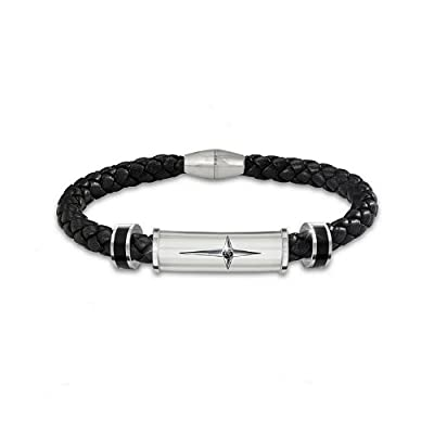 Bracelet: Protection And Strength For My Son Leather And Steel Cross Men's Bracelet by The Bradford Exchange