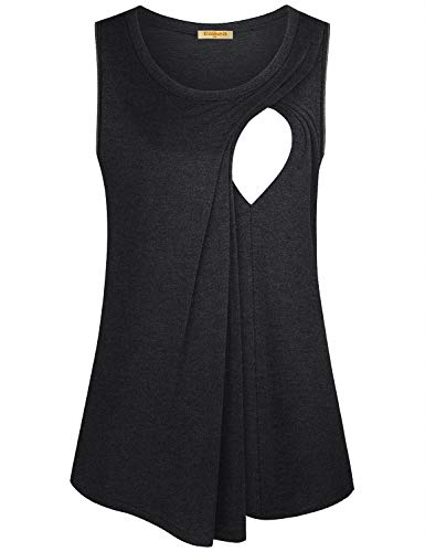 Baikea Nursing Shirt,Side Opening Hemlines for Moms Double Layers Sleeveless Breathable Loosing Silky Handiness Outdoors Pure Color Normally Matched Casual Pants Black M ()