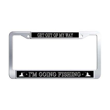 Black Metal License Plate Frame Tag Holder Going Fishing