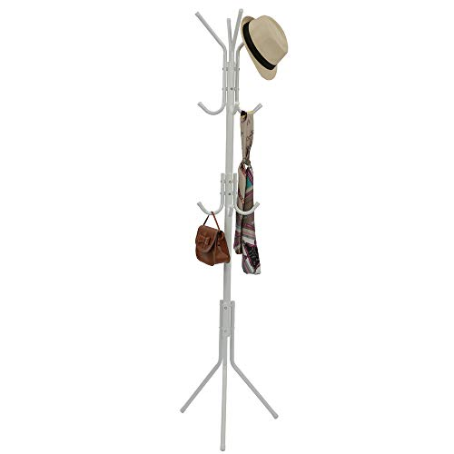 Home-Like Metal Coat Rack Free Standing,Coat Rack Stand with 12 Hooks,Entryway Coat Tree,Storage Hat Stand Umbrella Holder, Portable Hall Tree Suit for Bedroom Office Garage Foyer in White