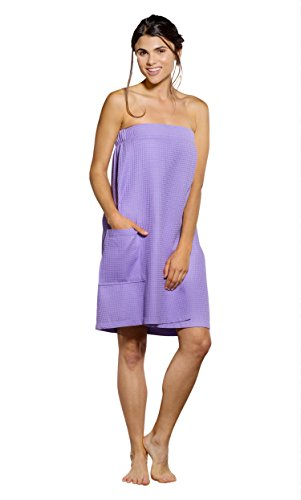 Turquaz Linen Lightweight Knee Length Spa/Bath Waffle Body Wrap with Adjustable Hook-and-Loop Tape (Large, Lavender)