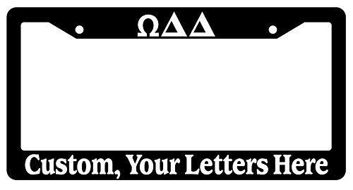 Dark Branches Black License Plate Frame Alpha Beta Chi Delta Epsilon Iota Custom Greek Letters
