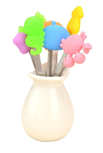 Sea Animals Modeling Fruit Fork Set With A Holder Silicone Handle -