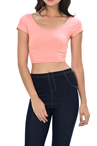 Womens Trendy Solid Color Basic Scooped Neck and Back Crop Top Lt Peach Small