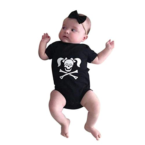 KONFA Toddler Newborn Baby Boys Girls Skull Romper,for 0-18 Months,Kids Halloween Playsuit Jumpsuit Costume Set (Black, 6-12 Months) -