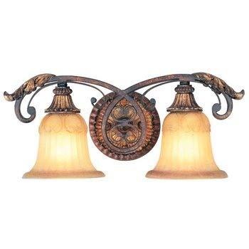 Livex Lighting 8552-63 Villa Verona 2 Light Verona Bronze Finish Vanity Bath with Aged Gold Leaf Accents and Rustic Art Glass