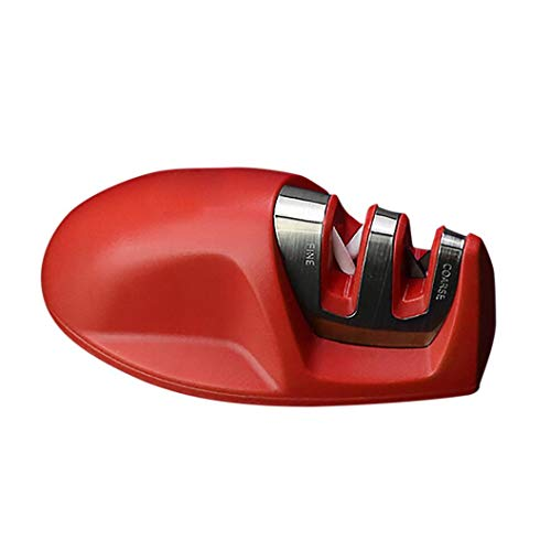 Portable Mini 2-Stage Stainless Steel Whetstone, Professional Fast Pocket Sharpening Stone Kitchen Sharpener Tool (Red)