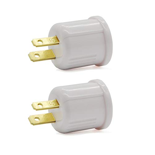 Outlet to Socket Adapter, Plug-in Light Socket, Convert Outlet to Light Bulb Socket, Polarized 2-Prong Outlet to E26 E27…
