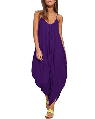 (Auxo Women V Neck Spaghetti Strap Loose Harem Jumpsuit Romper One Piece Romper Purple US 4/Asian)